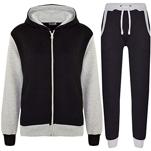 Kids Boys Girls Tracksuit Fleece Hooded Top - T.S Plain 101 Grey 11-12