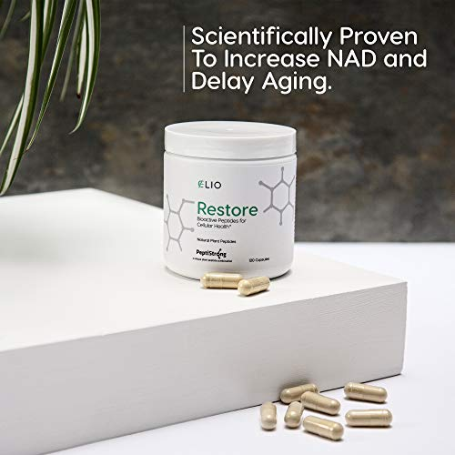 41YITzxSGYL - Elio Restore NAD+ Boost Supplement - Anti-Aging Formula & Increase Cellular Health (Works with Nicotinamide Riboside) - Energy & Metabolism Support - 120 Vegetarian Capsules