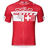 Odlo Scott - Maillot de Bicicleta de Manga Corta para Hombre, Camiseta, Color Suiza, tamaño Medium