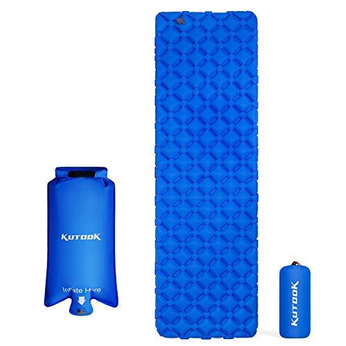 KUTOOK Colchones Hinchable 135x190 Camping Colchón Inflable Colchoneta Plegable Acampada Cama para Dormir Portátil Ultraligera Azul