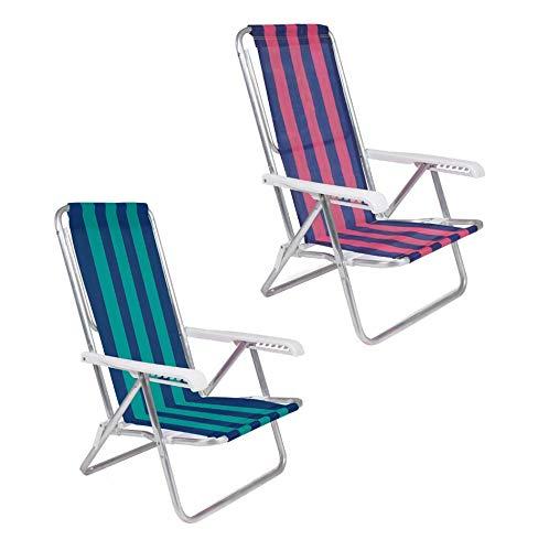 Kit 2 Cadeira De Praia Reclinável 8 Posições Alumínio Listrada - Mor