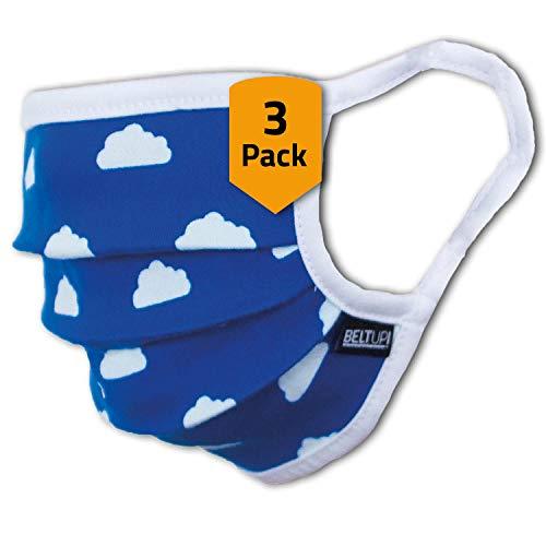 3er-Pack Abdeckung Kinder Junge & Mädchen waschbar, blau mit Wölkchen   aus 100% Baumwolle Oeko-TEX 100 Standard Earloop-Design   Wiederverwendbare Behelfs-Abdeckung für Mund Nase   Ab 6