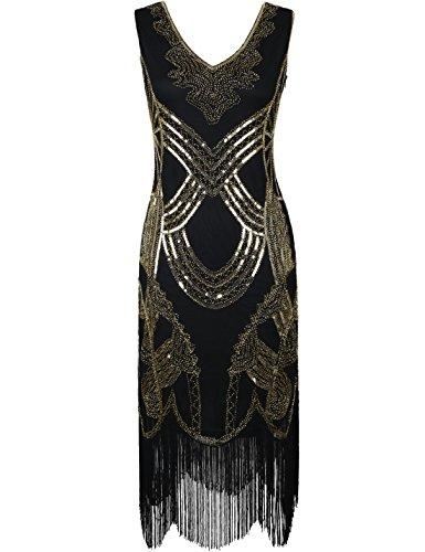 PrettyGuide Damen 1920er Gatsby Art Deco Perle Franse Flapper Charleston Kleid XL Alle Gold