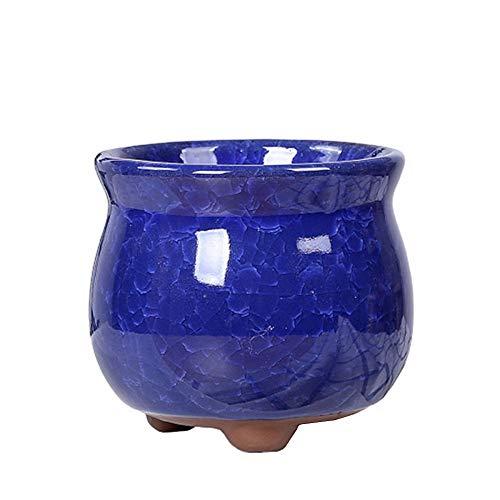 qingqingxiaowu Macetas Pequeñas Maceta Ceramica Pote de Flor Macetas pequeñas para Interior Macetas de Interior Al Aire Libre Maceta Planta de Marihuana Dark&Blue