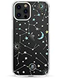 KINGXBAR Holographic Floral Case Compatible with Apple iPhone 12, iPhone 12 Pro (6.1 inch) with Bling Crystal from Austria Cute Clear Full Protective Cover Hard PC Soft TPU Fashion Design Starry Sky
