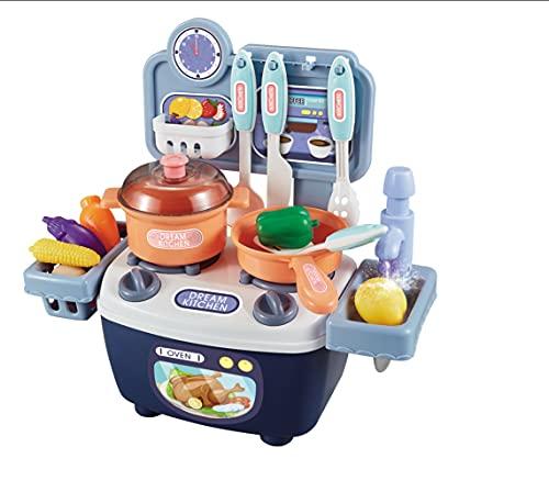 NW Set di Giocattoli da Cucina Set di Utensili da Cucina per Giocattoli da Cucina Fai-da-Te (Blu)