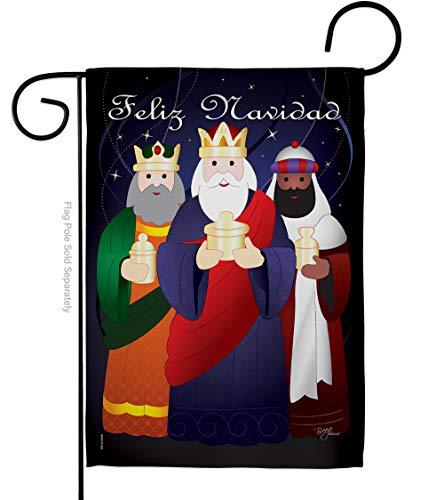Breeze Decor Nativity Feliz Navidad Garden Flag Winter Three King Religious Holy Family Season Wintertime Christian Small Decorative Gift Yard House Banner Double-Sided Imported 13 X 18.5