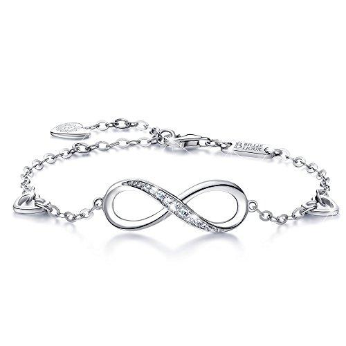 Billie Bijoux Womens 925 Sterling Silver Infinity Endless Love Symbol Charm Adjustable Bracelet for Women Girls