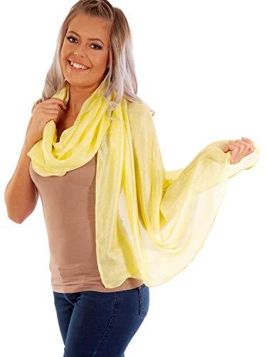 DOLCE ABBRACCIO by RiemTEX ® Schal Damen PRIMA DONNA Stola Tuch aus Wildseide im zarten Gelb Tücher in 31 Unifarben Halstücher Seidentuch Schals Damen Halstuch Seidenschal (Zitronengelb)