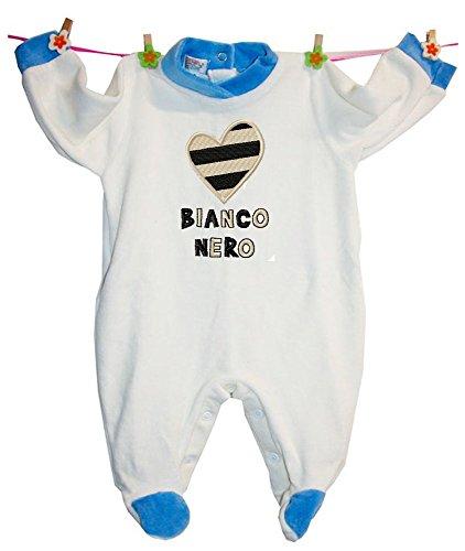 Zigozago - Pagliaccetto Made in Italy Tutina Fatta a Mano con Cuore Bianco Nero a Righe ricamato ; Taglia: 1 mese per bambino di 56 cm - Colore: Azzurro