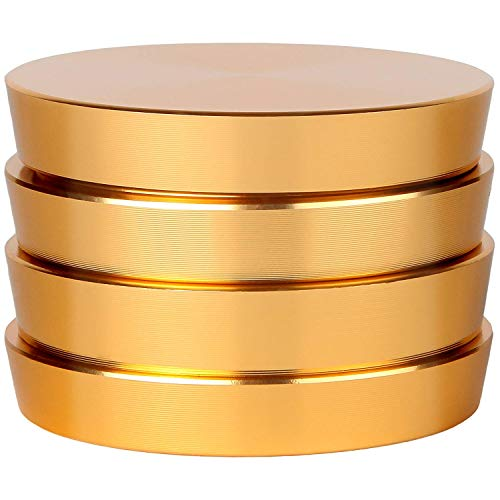 Zip Grinders - Pagoda Tower Spice and Herb Grinder - Four Piece with Pollen Catcher - Premium Grade Aluminum (2.5', Gold)