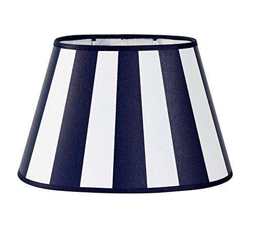 Lampenschirm f/ür Tischleuchte in Oval Leinen schwarz Wei/ß Barock TL 25-15-16