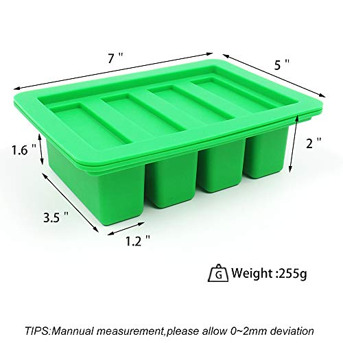 YHSWE 1 Green Silicone Butter Mold Tray with Lid Storage Jar Large 4 Cavities Rectangle Container for Butter Pudding Soap Chocolate Cheesecake Ice Cube Bar