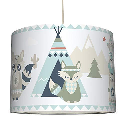 anna wand Hängelampe Little Indians BEIGE/TÜRKIS/ROT – Lampenschirm für Kinder/Baby Lampe mit Tier - Indianermotiv – Sanftes Kinderzimmer Licht Mädchen & Junge – ø 40 x 30 cm