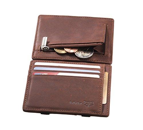 ⌊SMART⌋ Magic Wallet aus exklusivem Naturleder mit praktischem Münzfach, RFID-Schutz und edler Geschenkbox I Schlankes Premium Portemonnaie von fluffy fox® (Fuchsbraun)