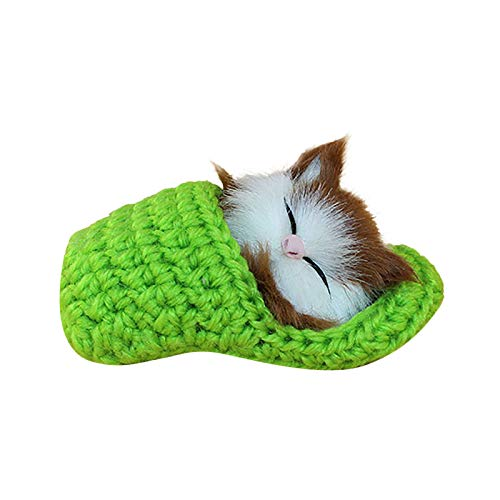 jieGorge Realistic Sleeping Plush Cat Furry Cat With Sound Creative Animals Decor Gifts, Plush, Toys and Hobbies for Easter Day (Green)
