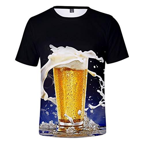 Herren T-Shirts Sommer Bier Festival 3D-Druck Oansatz Kurzarm Bluse Tops Männer Mode Persönlichkeit Sport Vintage Rundhals T-Shirt Casual Oversize Kurzarmhemd Weich Lose Tank Top Oberteil