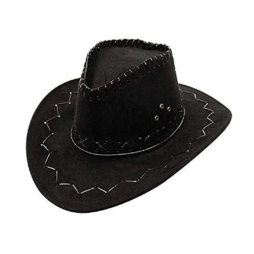 Cappello Cowboy - Cowgirl - Far West - Western - Rodeo - Carnevale - Halloween - Saloon - Sceriffo - Costume - Costumino - Accessori - Uomo - Donna - Bambini nero - Idea regalo natale compleanno