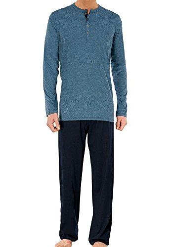 Schiesser Herren Anzug Lang Zweiteiliger Schlafanzug, Blau (blau 800), Small (Herstellergröße: 048)