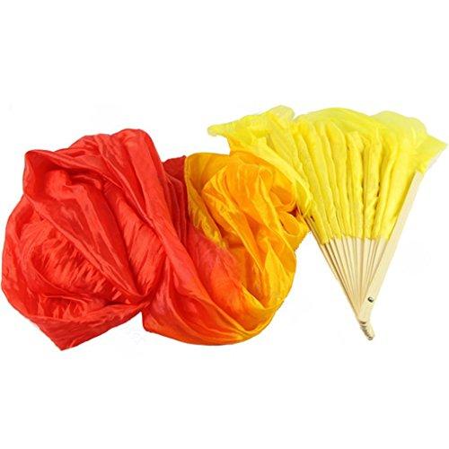 Gwxevce Nuevo Colorido Danza del Vientre Bambú Ventiladores de Seda Largos Velo 4 Colores Ventilador de Seda a Mano Amarillo + Naranja + Rojo