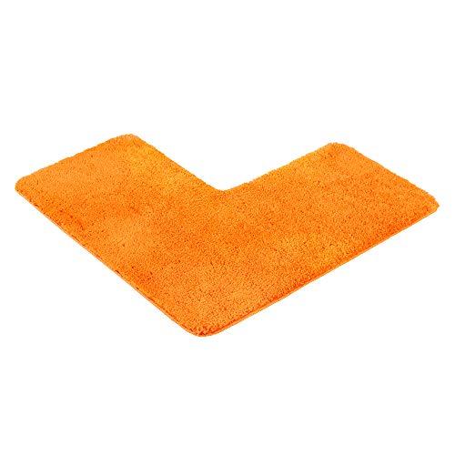 PANA Flauschiger Duschvorleger mit Eckausschnitt • Badematte in versch. Farben und Größen • Badteppich für Eckduschen • Badteppich rutschfest & waschbar • 50 x 100 x 100 cm • Farbe: Orange