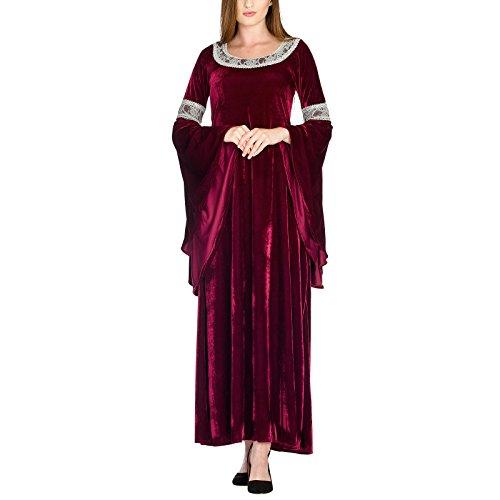 Herr der Ringe Elbenwald Kostüm Königinnen-Kleid Fans im Stil von Arwen Samtkleid mit Spitze für Damen - 40/42