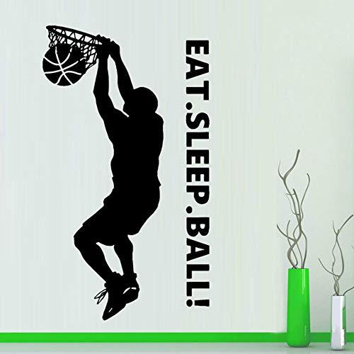 SLQUIET Anpassbare basketball slam dunk vinyl aufkleber aufkleber kunst dekoration schlafzimmer design essen schlaf ball wandbild sport aufkleber aufkleber Grün 42x74cm