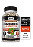 Kaya Naturals Organic Ashwagandha 1300mg, 60 Count Capsules for Stress Relief, Anti-Anxiety & Adrenal, Mood & Thyroid Support, Black Pepper and 100% Pure Ashwagandha (60 Capsules)