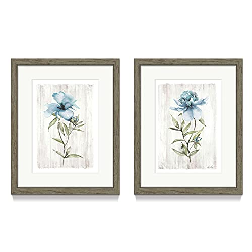 Flower Framed Picture Wall Art – Dainty Watercolor Wildflower with Grey Background Prints Wall Decor for Bedroom or Kitchen(11'' x 14'' x 2 Panels)