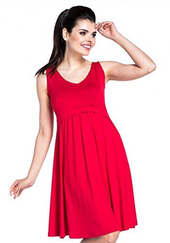 Zeta Ville – Stillen A-Linie Kleid Schwangere Tiefer V-Ausschnitt – Damen – 685c (Rot) - 2
