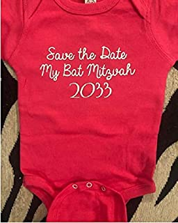 Save the date my bat bar mitzvah 2033 baby boy bodysuit infant girl one piece