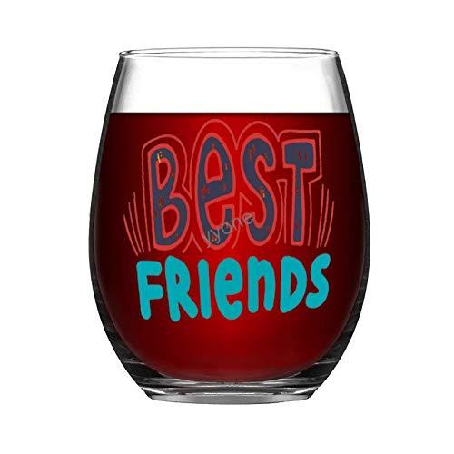 YY-one Copa de vino grabada personalizada sin tallo, 325 ml – Best Friends, copas de vino, bodas, fiestas, cumpleaños, regalos para papá, hombres, amigos, padres