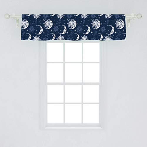 "Ambesonne Half Moon Window Valance, Repeating Sky Elements Sun and Stars Illustration, Curtain Valance for Kitchen Bedroom Decor with Rod Pocket, 54"" X 12"", Blue Ceil"