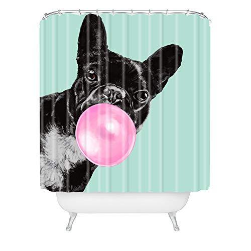 Society6 Big Nose Work Bubblegum French Bulldog Shower Curtain, 72'x69', Blue