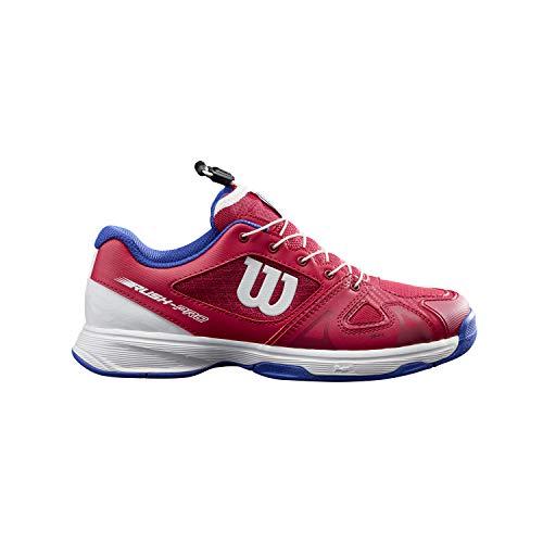 Wilson Scarpe da Tennis da bambine e ragazze, RUSH PRO JR QL, Fucsia/Bianco/Blu, 35 1/3, Per tutte le superfici, Per tutti i tipi di giocatori, WRS327900E030