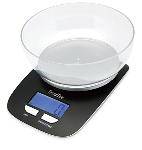 Terraillon Küchenwaage, mit Schale, Tara, Liquid Conversions, 3kg Fassungsvermögen, ter021, schwarz