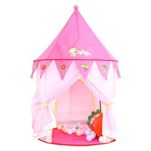 SZQ-Play Tents Princess Tent, Conical Yurt Tent Indoor Girl's Tent Pink Roofed Tent - 80 * 80 * 125CM - Dream Play Tents for Kids Kids Teepee (Color : Pink, Size : 80 * 80 * 125CM)