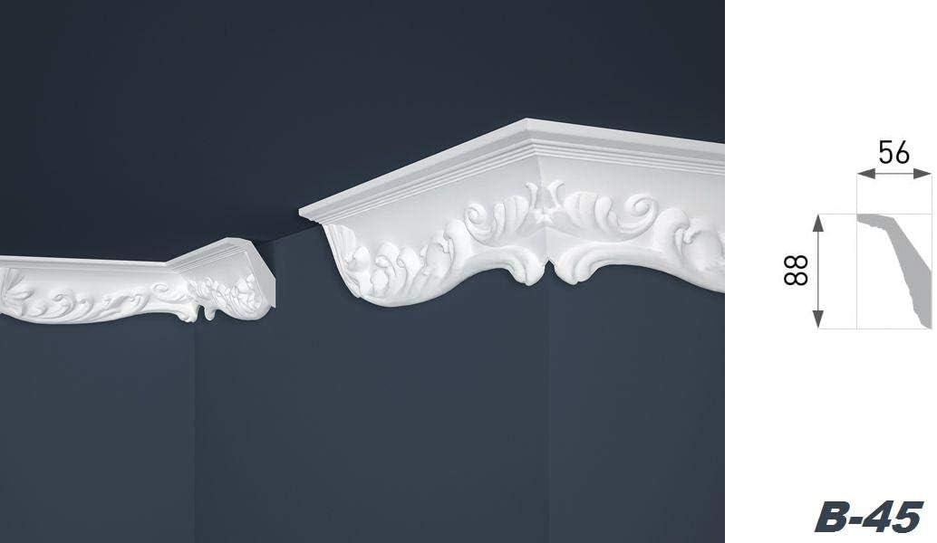 B-45 10 Metri Profili Polistirolo Decorazione Indoor Listelli Stucco Coperta 56x88mm