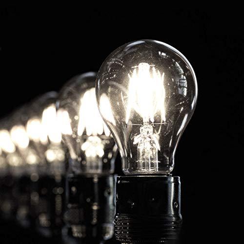LVWIT 6.5W E27 Filament LED Glühfaden A60, 6500K Kaltweiß, Ersatz für 60W Glühlampe, ultrahell 806 lm, nicht dimmbar, Rustikalampe in Kolbenform, Filamentstil klar (6er Pack)