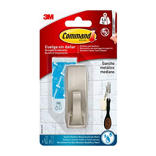 Command W-MR02-BN Gancho Metálico, Tamaño Mediano, Gris