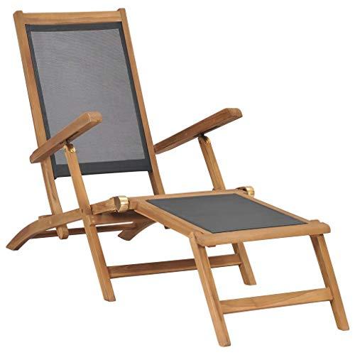 Ligstoel met voetensteun massief teakhout zwart