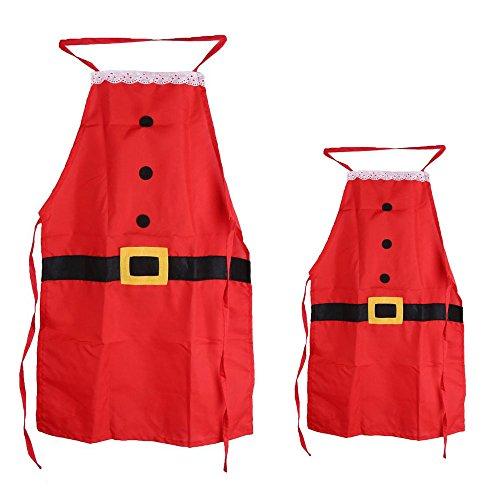 Deggodech Adulti & Bambini Grembiule di Natale Rosso Babbo Natale Stile del Costume Grembiule Pinafore Festa di Natale Cucina Cuoco Decorazione Regalo