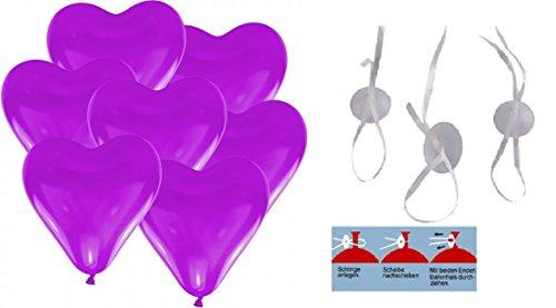 50 Herz Luftballons 30cm Durchmesser Lila, 50 Schnellverschlüsse