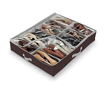 Domopak - Organizador de calzado para debajo de la cama (tamaño grande, 12 compartimentos), color marrón