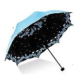 XYZK Pequeño Mini paraguas ligero diseño compacto perfecto para viajes Sombrilla portátil ligero al aire libre Sun&Rain Umbrellas(azul)