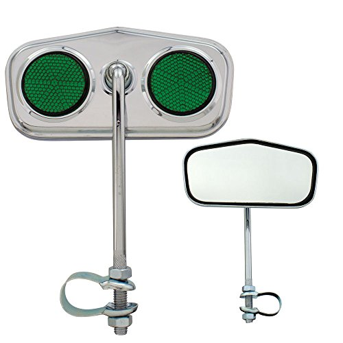 Fenix Cycles Pentagon Daimond Bicycle Mirror Chrome, (Green Reflectors)