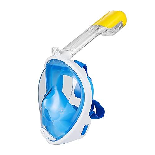 CHSDN Máscara de natación Máscara de Buceo Gafas antiniebla de Buceo de Cara Completa con Montaje de cámara Equipo de Buceo con esnórquel de visión Amplia submarina