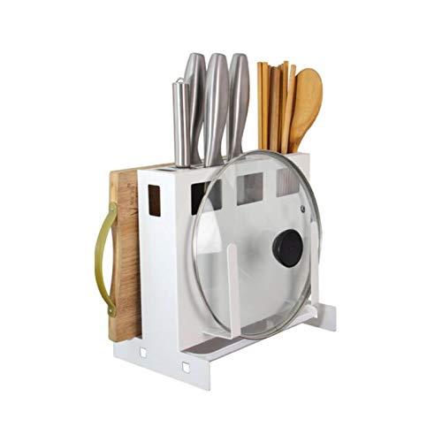 Soporte para cuchillos de cocina, cuchillo 4 en 1, tabla de cortar, organizador de tapa de olla, almacenamiento de cubiertos con escurridor, montado en la pared, almacenamiento en encimera de cocina,