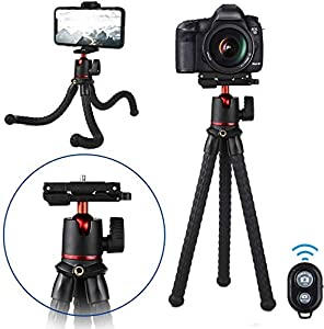 Phone Tripod, Adjustable and Portable Mini Camera Tripod with Wireless Remote Shutter and Universal Clip 360° Rotating, Flexible Travel Tripod for Universal Smart Phone & Camera