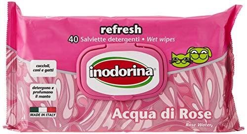 Inodorina Toallitas Desinfectantes para Perros y Gatos Refresh Agua de Rosas (40 Unidades). Toallitas Húmedas de Higiene para Mascotas, Tejido Resistente Sin Alcohol. No Testado en Animales